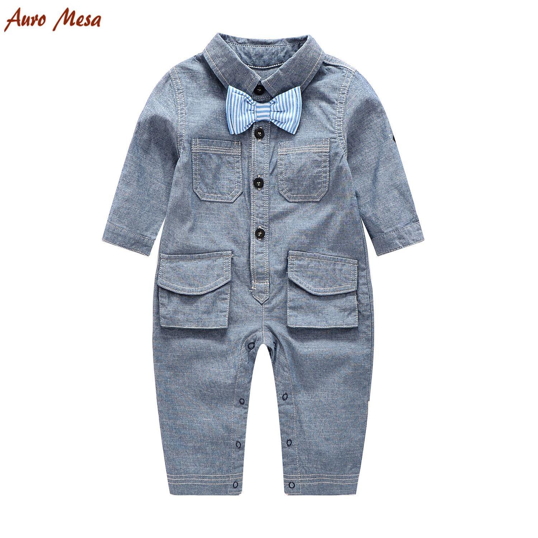2018 Infant Romper Boys Stripe Bows Doule Pocket Denim Romper
