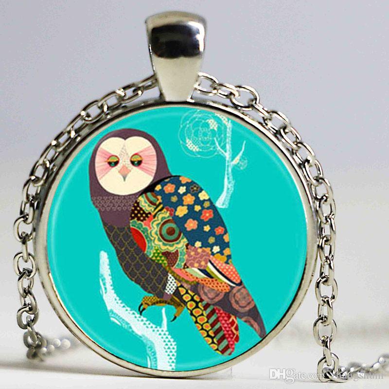 Novo A coruja Dos Desenhos Animados Da Menina Da Jóia Rodada Colar de Pingente de Óculos Gótico Meninas Camisola Cadeia de Presente livre
