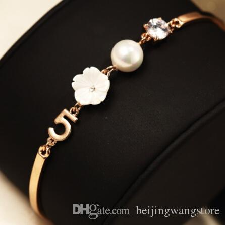 Rose Gold Plated Bracelet Bangles Fashion Pearl Flower Zircon