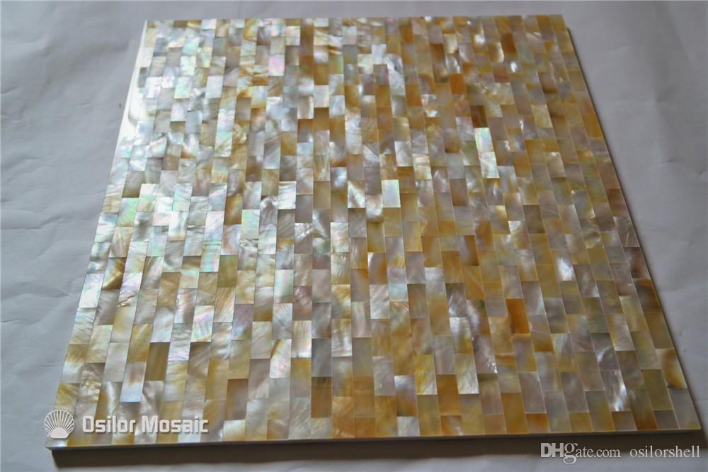 Перламутровая мозаика с желтыми губами для внутренней отделки дома и ванной комнаты и кухни Настенная плитка 10x20мм в кирпичном стиле