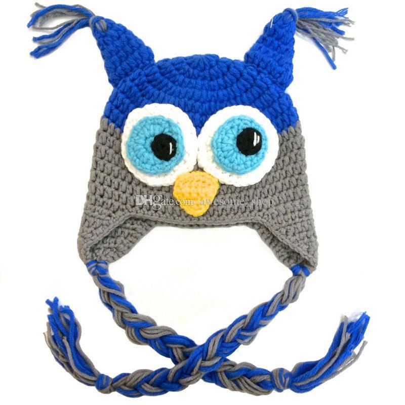 Super Cool Blue Grey Owl Hat,Handmade Knit Crochet Baby Boy Girl Animal Hat,Toddler Halloween Costume,Infant Photography Prop
