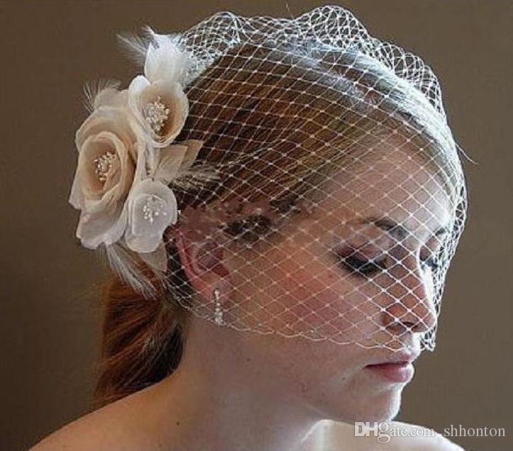 Wedding Birdcage Veils Champagne Ivory White Flowers Feather Birdcage Veil Bridal Wedding Hair Pieces Bridal Accessories BV03
