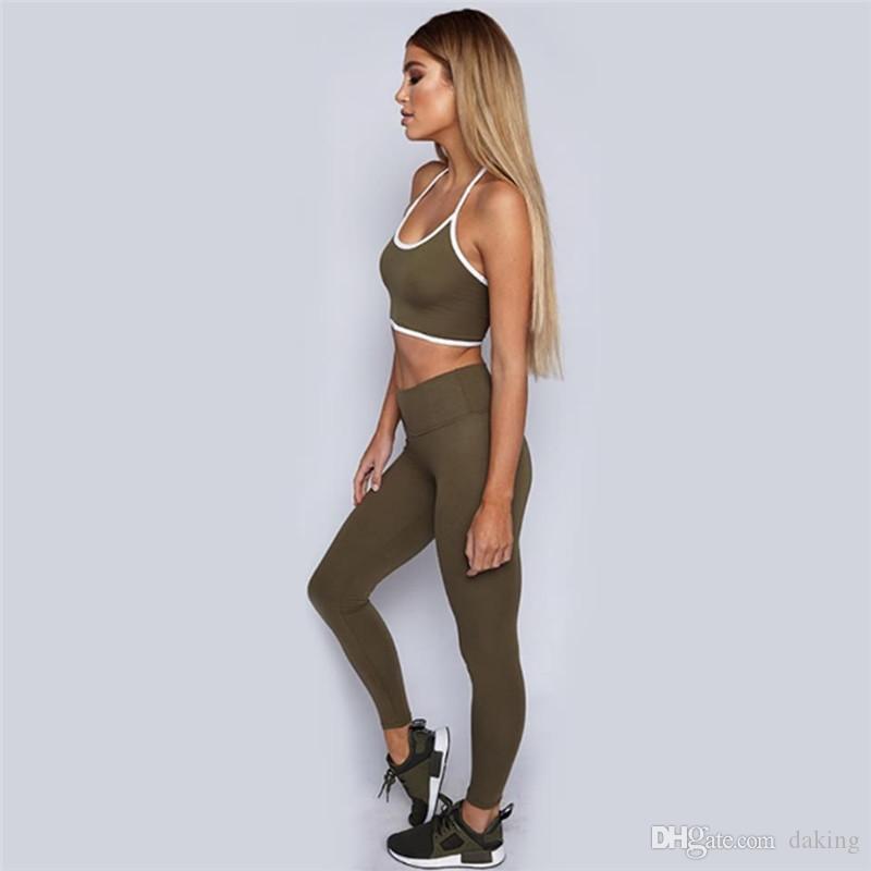 Europe Russie New marée Femmes Gilet Tops ajouter à long costume pantalon rouge vert en tricot de coton molletonné Sets Bande élastique mince Gym Yoga sport