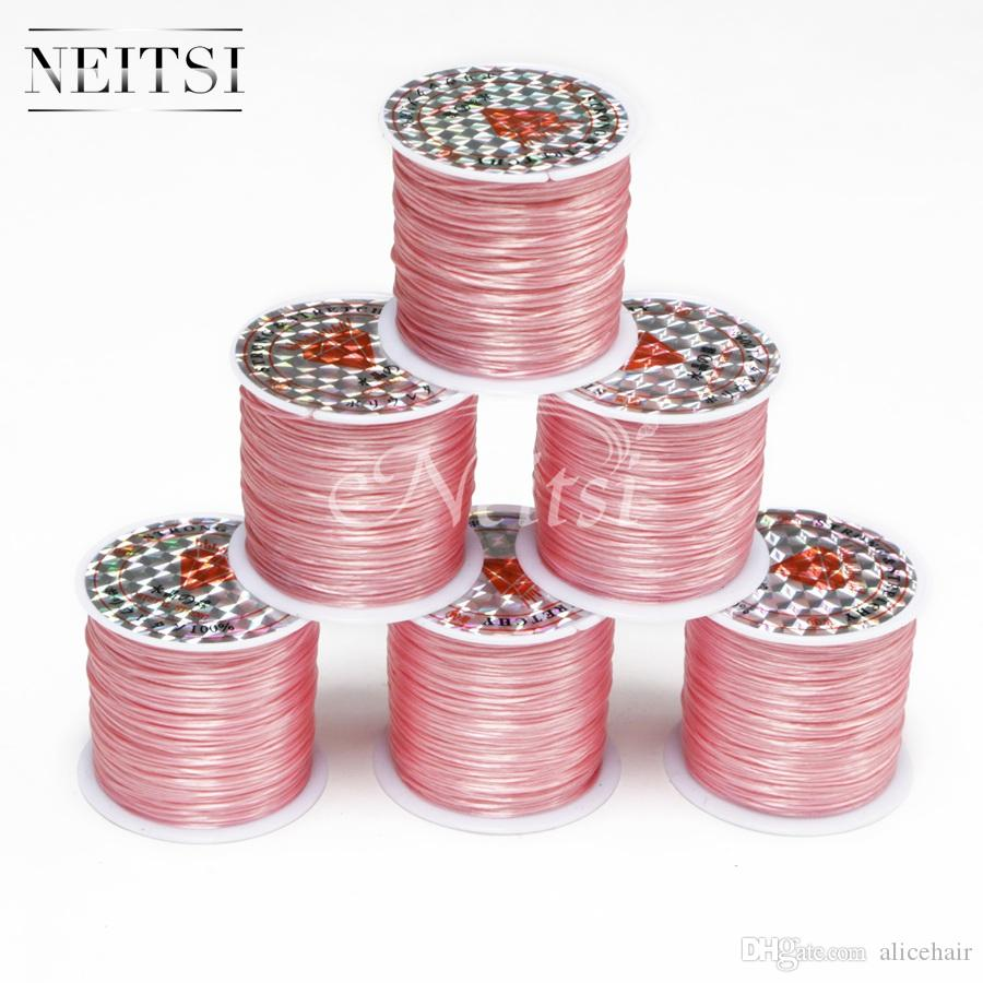 Neitsi Elastic Stretchy Crystal Line Jewelry Beading Thread Hot Selling Hair Extension Tool Light Pink# 50 Meters/pc