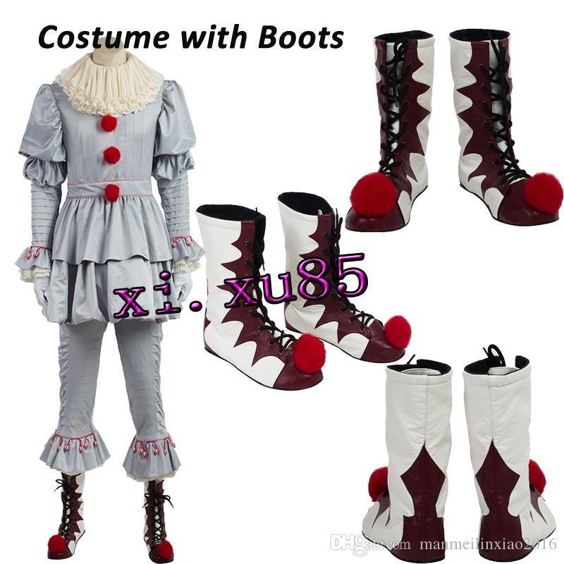 Stephen Kingu0027S It Pennywise Cosplay Costume Clown Costume For Men Halloween Clothes With Boots Custom Made Sexy Halloween Costume Santa Costume From ...  sc 1 st  DHgate.com & Stephen Kingu0027S It Pennywise Cosplay Costume Clown Costume For Men ...