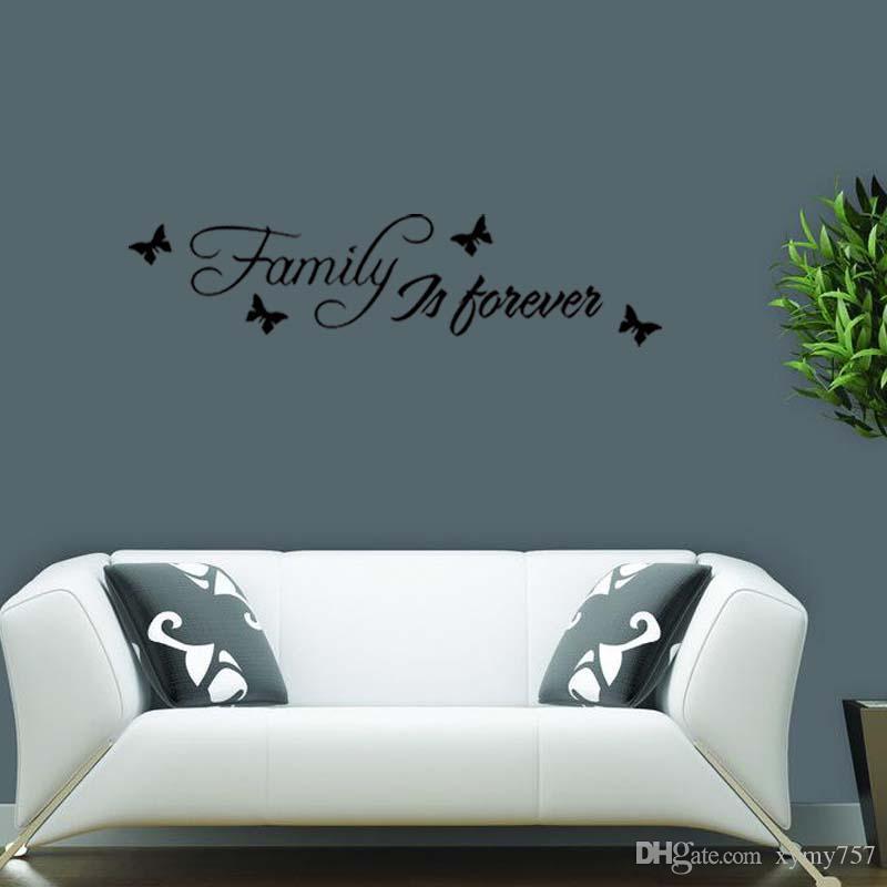 Pour la famille est pour toujours mur Art autocollant amovible drôle autocollant citation chambre salon décoration bricolage