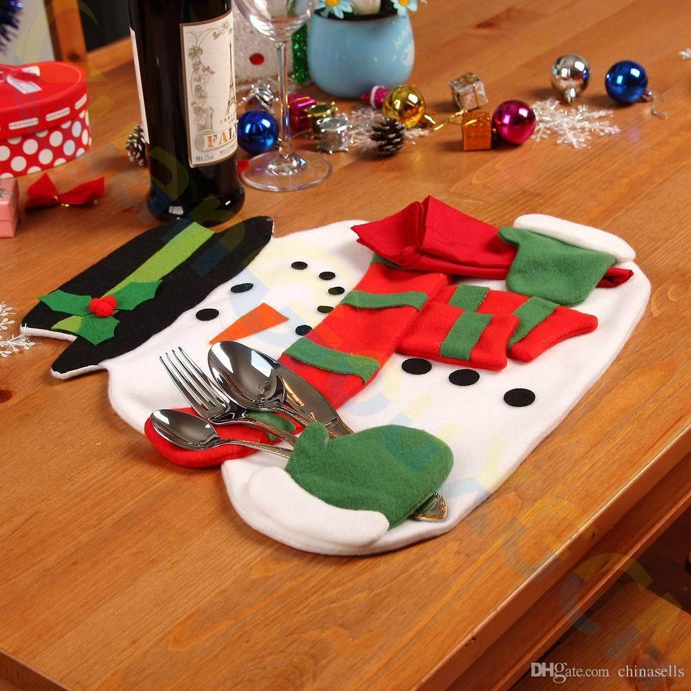 party home Christmas decoration snowman Double layer dinner table mat Insulation pads Tableware Fork knife bag napkin holder