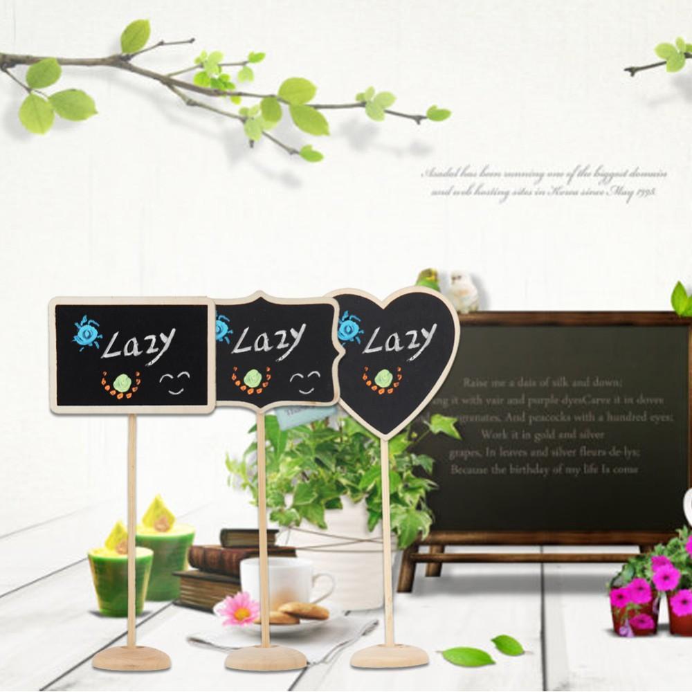 Düğün Dekorasyon Mini Kara Tahta Blackboard Koltuk Standı Düğün Lolly Kalp Retangle Desen Parti Etiketler başına 12 Adet