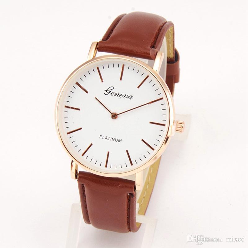 Genève de la montre à quartz à deux broches de la ceinture ultra mince de ceinture montre des étudiants occasionnels de quartz