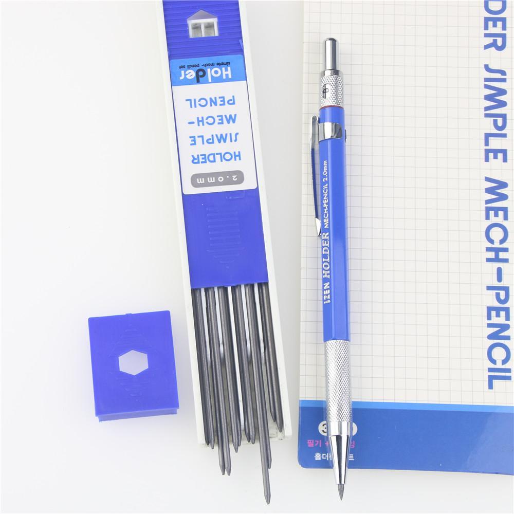 홀더 자동 연필 2.0 미리 메터 검은 연필 리드 상자 금속 클립 그립 Draughting 기계 쓰기 그리기 학교 용품
