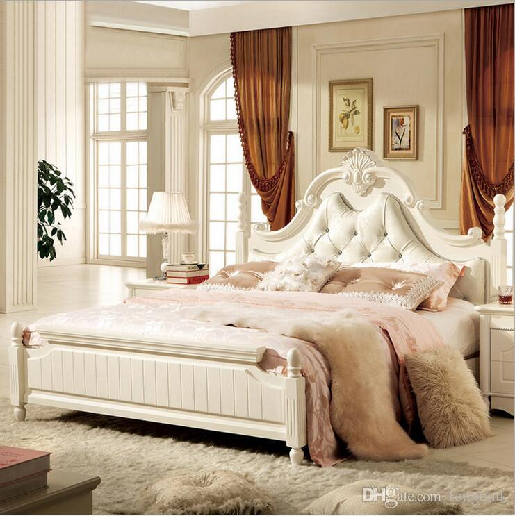 Factory Price King Size Leather Modern European Solid Wood Bed ...