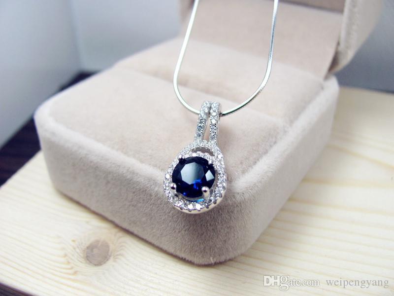 Fashion Vintage 2CT sona simulato taglio princess collana pendente di nozze le donne, catena in argento sterling 925