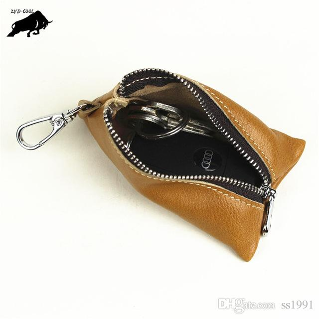 ZYD-COOL Retro Cow Genuine Leather Handmade Car Key Holder Wallet Case High Quality Cute Man and Woman Key Shell Bag Housekeeper