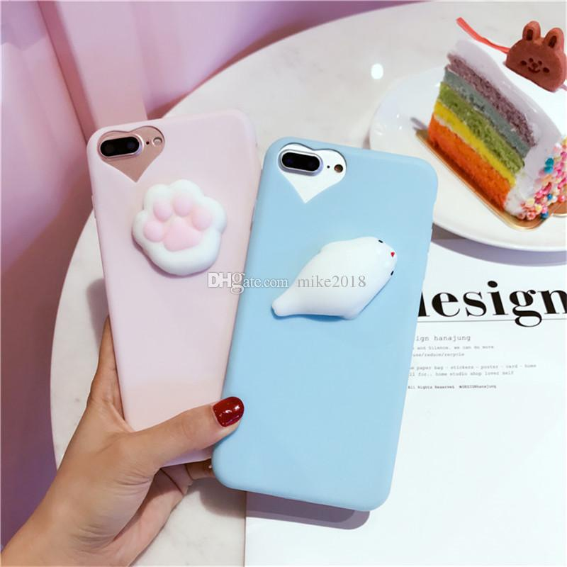 Lovely Squishy 3D Cartoon Finger Pinch Cat Claw Silicone Soft Candy Cover Case for iPhone 5 5S 6 6S 7 Plus Phone Cases