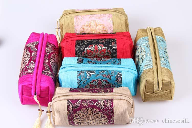 Patchwork Long Zipper Pouch Travel Jewelry Makeup Storage Bag Tassel Craft Gift Packaging Chinese style Silk Cotton Cosmetic Purse