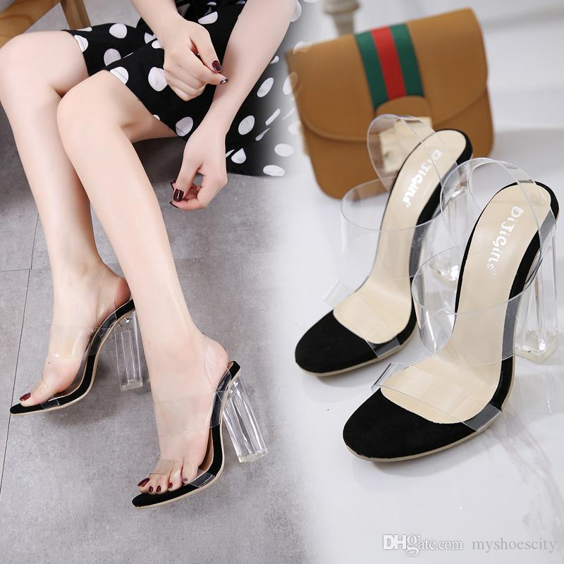 Adorable transparent thick high heel PVC crystal shoes sandals party prom size 35 to 40