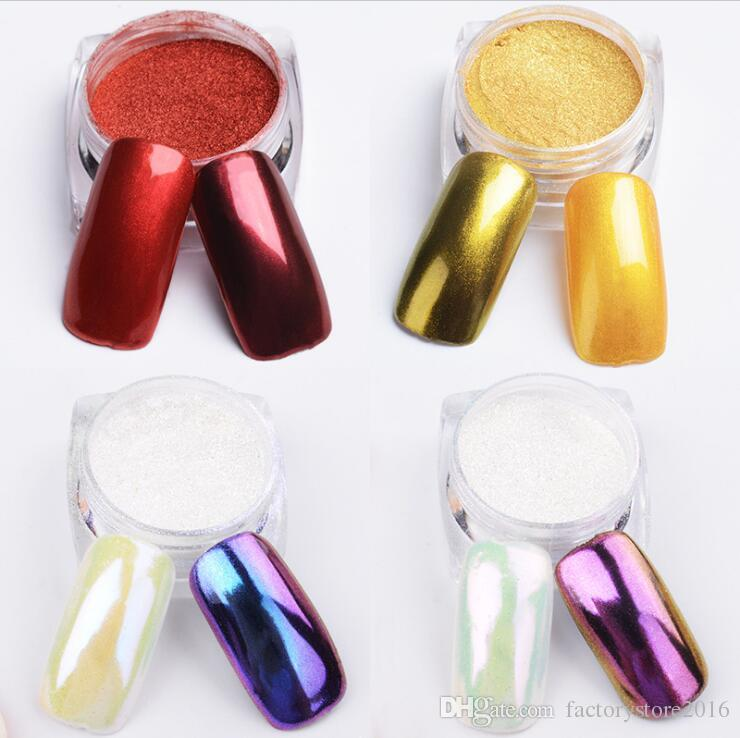 2g Colorful Nail Glitter Powder Shinning Mirror Effect Nail Makeup Powder Dust Nail Art DIY Chrome Pigment Glitters With Brush