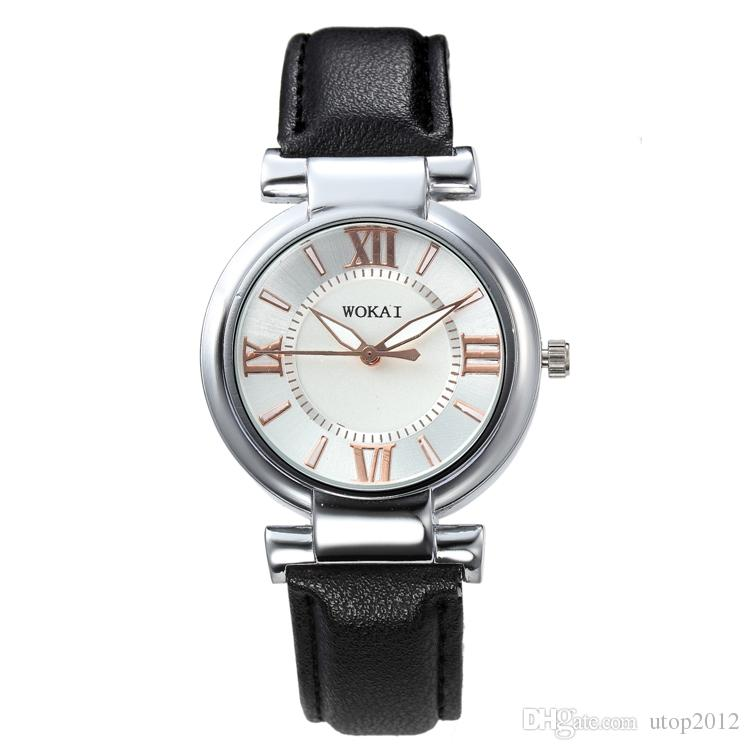 New Man Woman Luxury Leather Strap Watch Roma Numeral Round Dial 4 Colors Free Shipping Via DHL