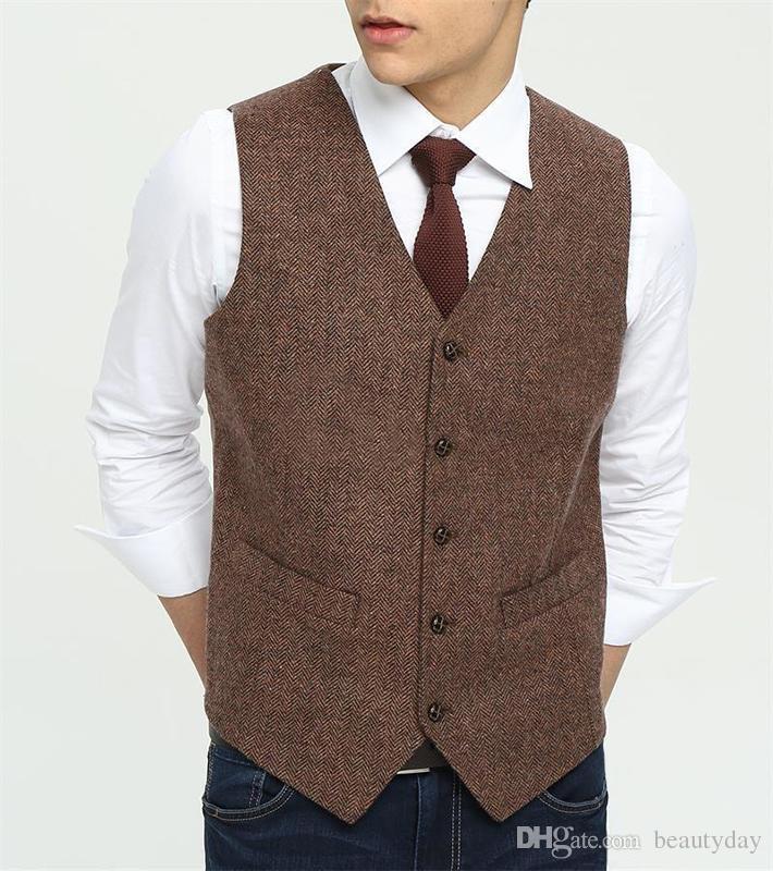 2018 Country Farm Brown Wool Herringbone Tweed Dress Vests Custom Made  Groom Vest Slim Fit Mens Suit Vest Wedding Waistcoat Plus Size Double  Breasted Vest ... b1b81319b2bd