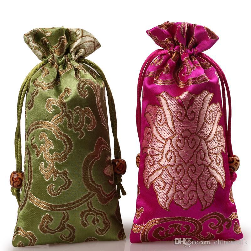 Allonger Rich Fleur Bijoux Pouches cadeau cordonnet de soie Brocade Sac collier de perles Bracelet en bois Horns peigne Trinket poche de rangement 8x16 cm