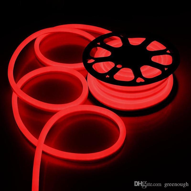 AC110 AC220V SMD2835 LED 네온 플렉스 스트립 빛 5.5W 6W LED 네온 로프 빛 90LEDS 120LEDS LED 네온 빛 크리스마스 장식 50m