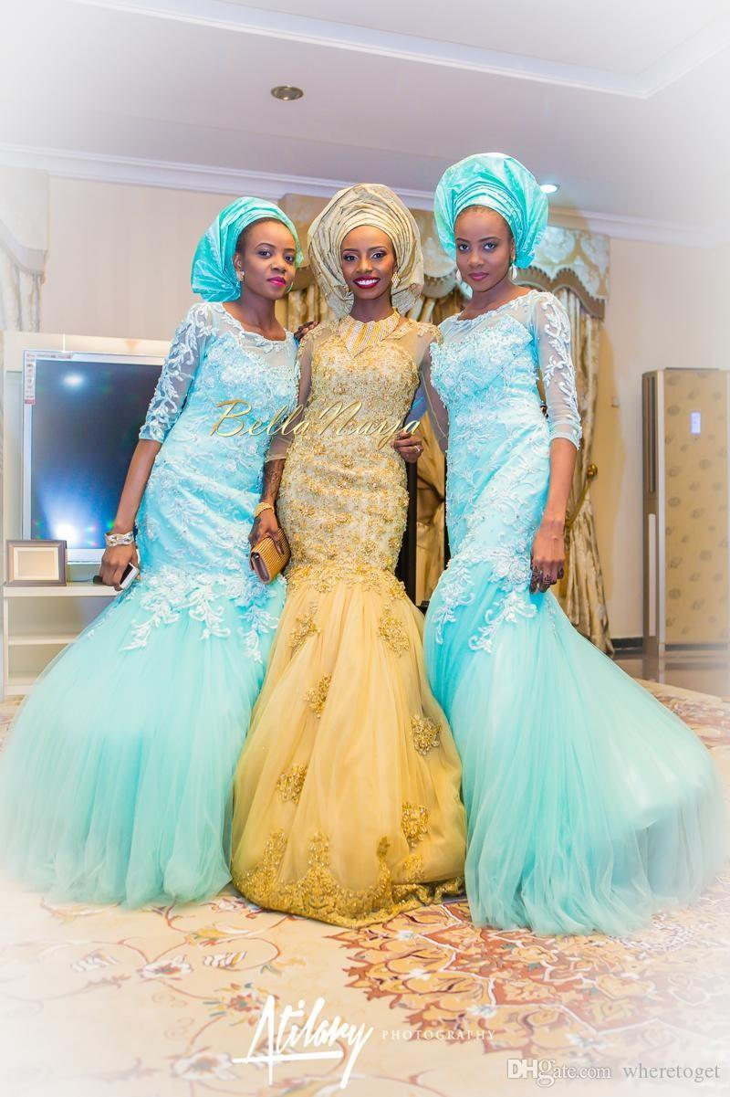 2019 Gold African Traditional Lace Wedding Gowns Beaded Jewel Neck Beaded Appliques 3/4 Long Sleeves Tulle Chapel Train Bridal Gowns
