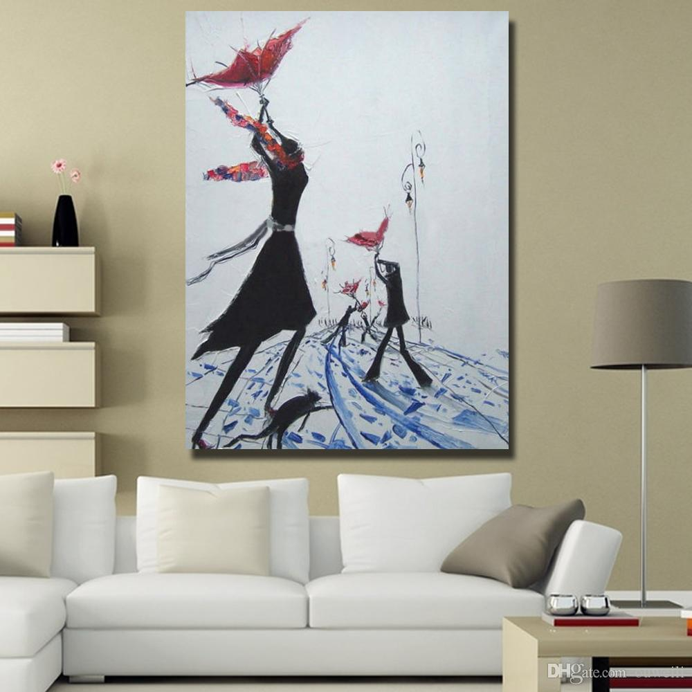 Decorative design modern home goods oil painting cartoon abstract figure wall art pictures for living room