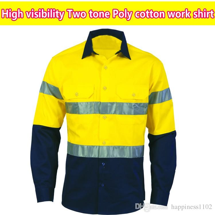 Spardwear hi vis two tone long sleeve yellow black poly for Hi vis t shirts cotton