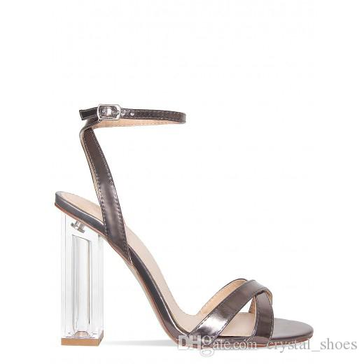 0f91601881944 2017 Summer New Silver Champagne Ladies High Heels Sandals Ol Crystal Thick  With High Heeled Sandals Party Women S Shoes Cheap Sandals Summer Sandals  From ...