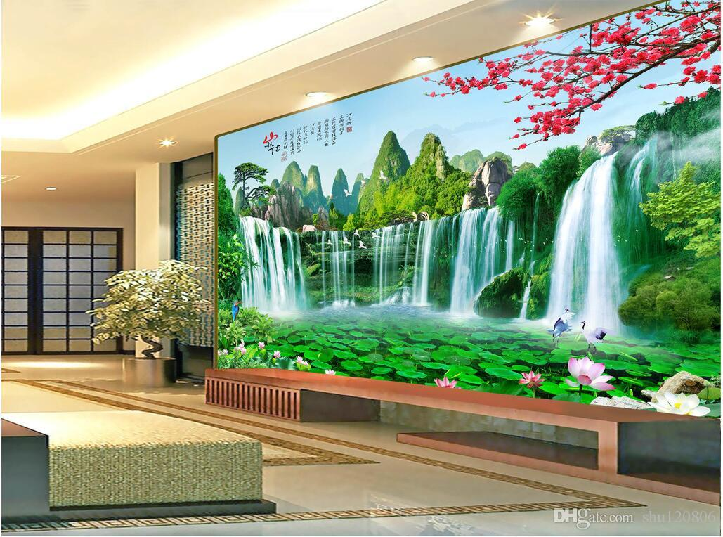 3d Wallpaper Custom Photo Chinese Landscape Waterfall Background Decoration  Painting 3d Wall Murals Wallpaper For Living Room Walls 3 D Beach Wallpapers  ... Part 97