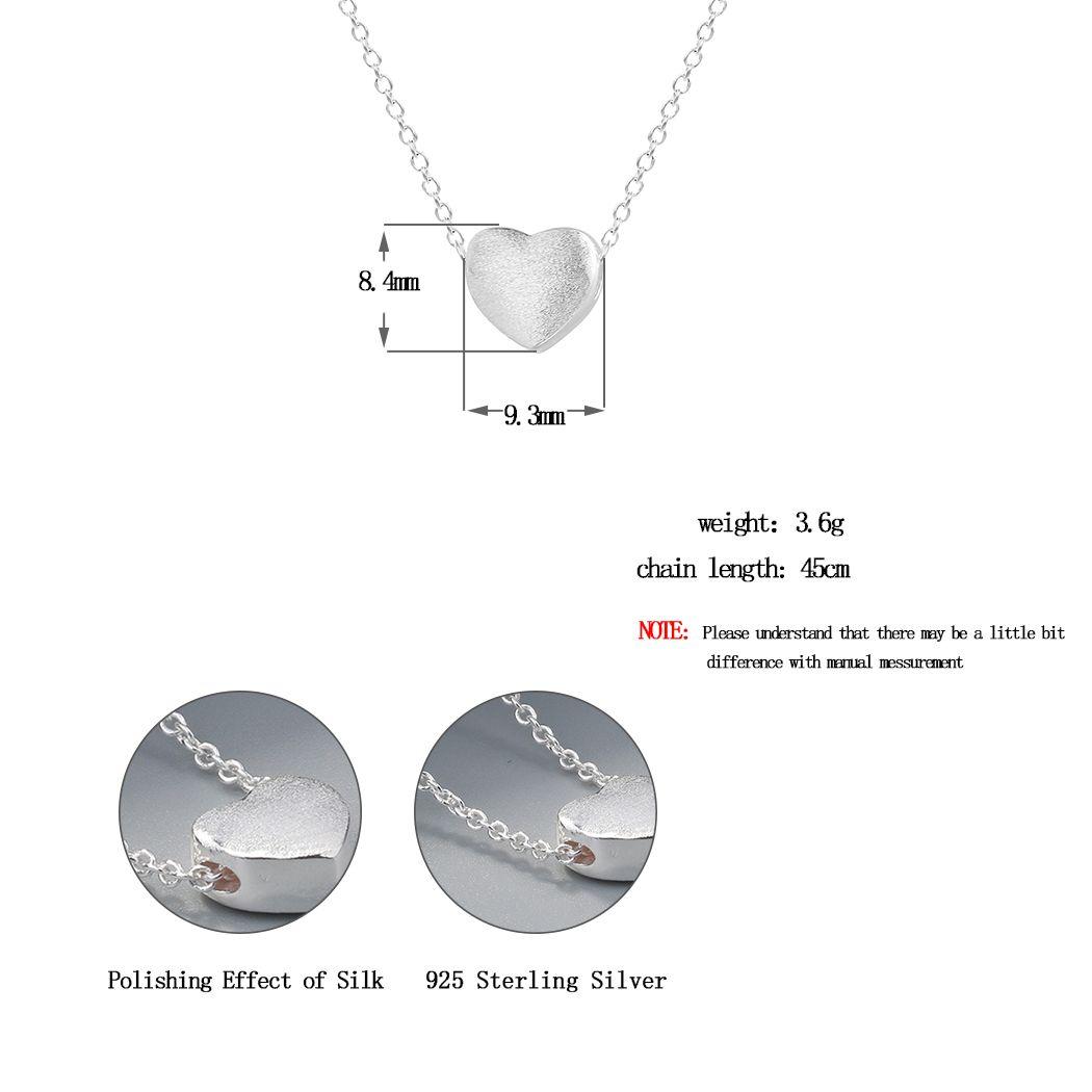 Wholesale 925 Sterling Silver Jewelry Women Love Heart Necklaces & Pendants Gift for Girlfriend Collar Colar de Plata