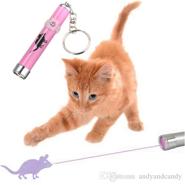 Portable Funny Pet Cat Toys LED Laser Pointer light Pen With Bright Animation Mouse Shadow