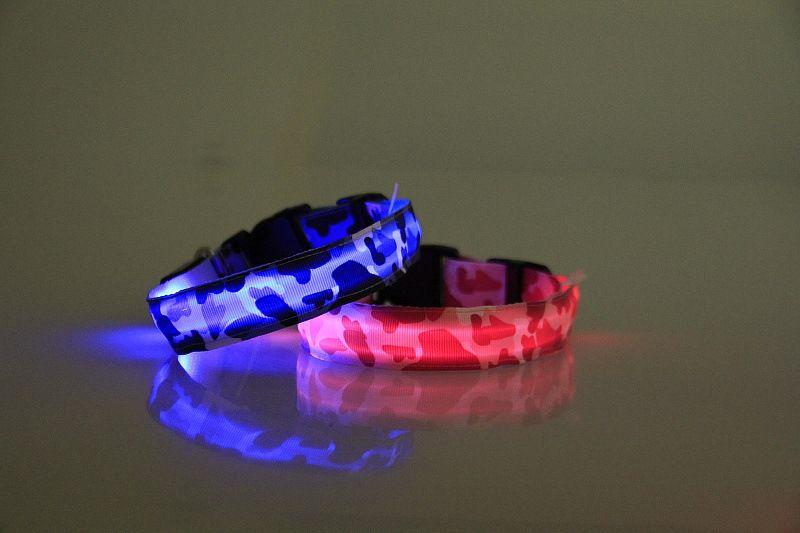 2.5 см ширина камуфляж нейлон LED Pet собака кошка воротник безопасности ночник домашние животные Flash шеи ошейники