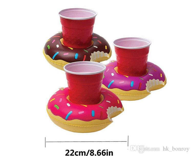 Fast Inflatable donuts coke Phone Cup Holder Water Inflatable toys decorations 18cm Drink Botlle Holder C1156