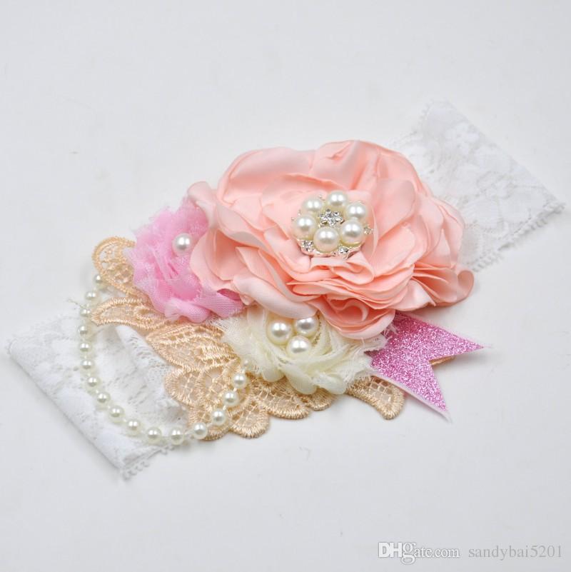 Baby Girls Lace Headbands Kids Girl 3D Flower Headband 2017 Infant Princess Pearl Headband Children Hair Accessories Photo Props B619