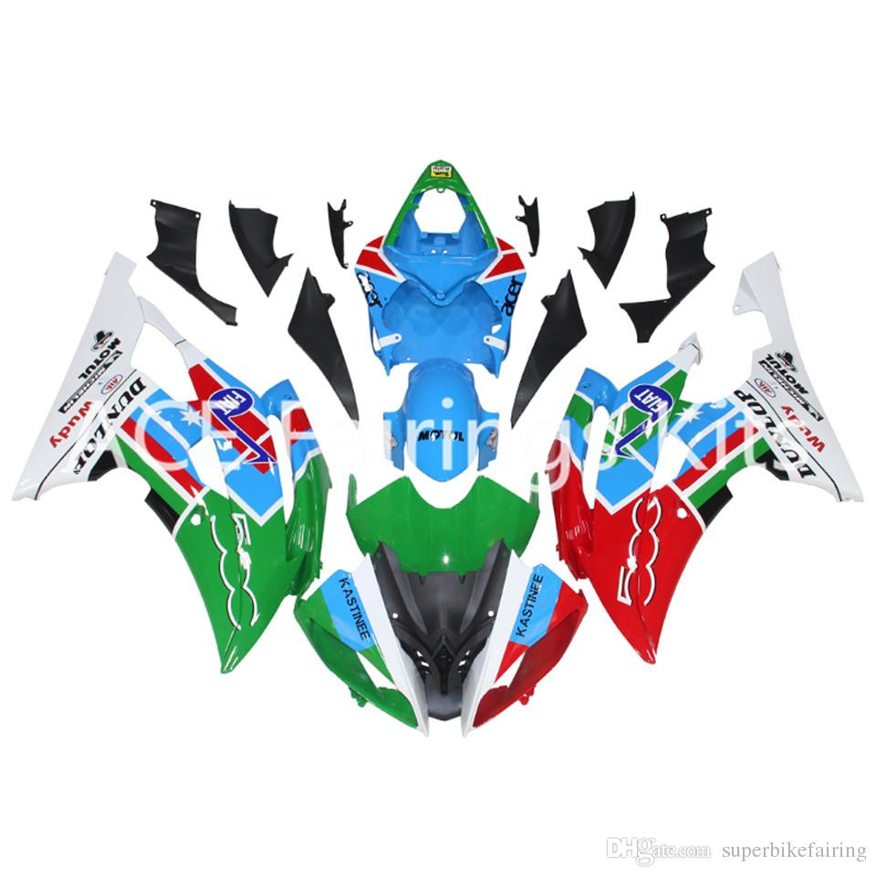3 gift New Fairings For Yamaha YZF-R6 YZF600 R6 08 15 R6 2008-2015 ABS Plastic Bodywork Motorcycle Fairing Kit Red green white style vv12
