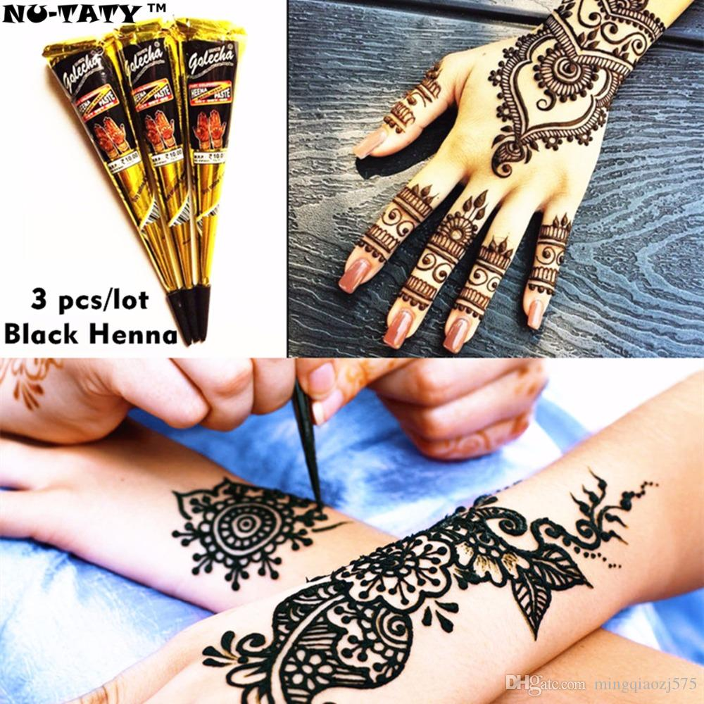 Black Henna Tattoo Paste Cone 3pcs/lot Stencil Temporary Flash Tattoo Body  Art Henna Wedding Adult Products