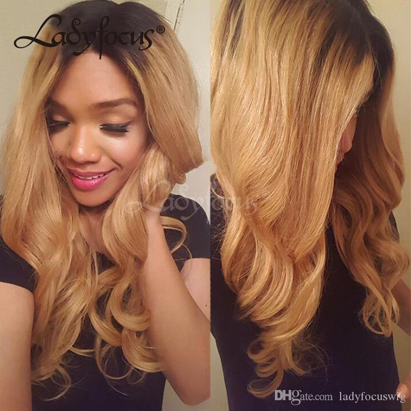 1B 27 Glueless Full Lace Human Hair Wigs Natural Wave Ombre Honey Blonde Brazilian Lace Front Wig With Baby Hair For Black Women