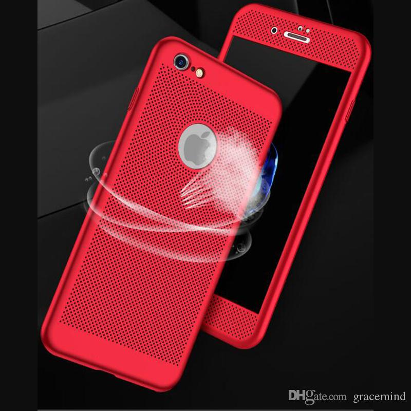 360 Heat dissipation phone hard Back PC Case Full Cover For iPhone X 7 7 Plus Cover Protect shell With Screen Protector