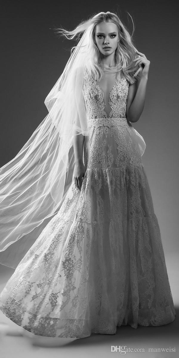 Lo nuevo Lihi Hod vestidos de novia de playa sin respaldo sexy escarpado profundo con cuello en V de encaje apliques Boho vestidos de novia una línea de arco vestido de novia