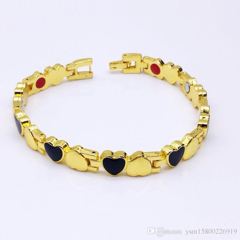 tendenza 8 mm doppio cuore acciaio inossidabile magnete madame bracciale con cinturino non in oro