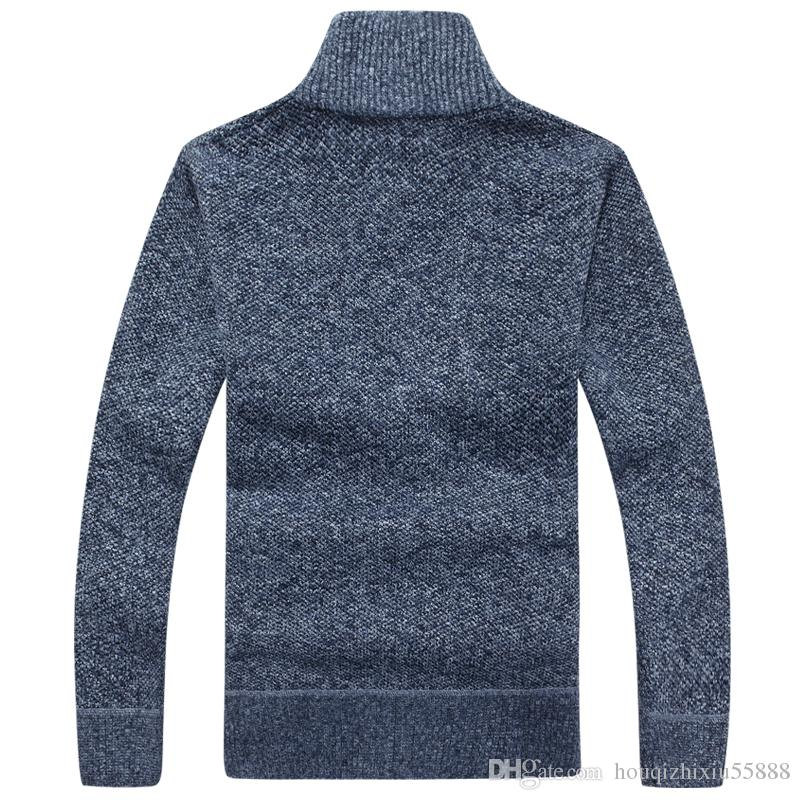 Blusas Homens Inverno Cardigan Quentes De Veludo Grosso Cashmere Com Zíper Gola Mandarim Homem Roupas Casuais Padrão Malhas Grande Tamanho 3xl
