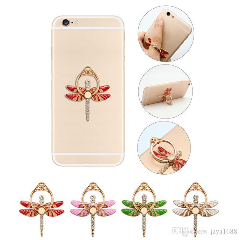 Stubinno Dragonfly Diamond Luxury 360 Degree Finger Ring Mobile Phone  Holder For iphone 7 6 samsung s7 s6