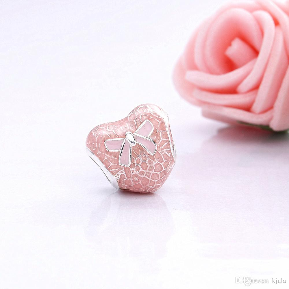 2017 Authentic 925 Sterling Silver Bow Lace Heart Transparent Misty Bead Charm With Pink Enamel Fit Original Pandora Bracelet Diy