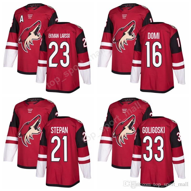 the best attitude fbee0 4431d 2018 AD New 23 Oliver Ekman-Larsson Jersey Custom Arizona Coyotes Ice  Hockey Jerseys Red 21 Derek Stepan 33 Alex Goligoski 16 Max Domi