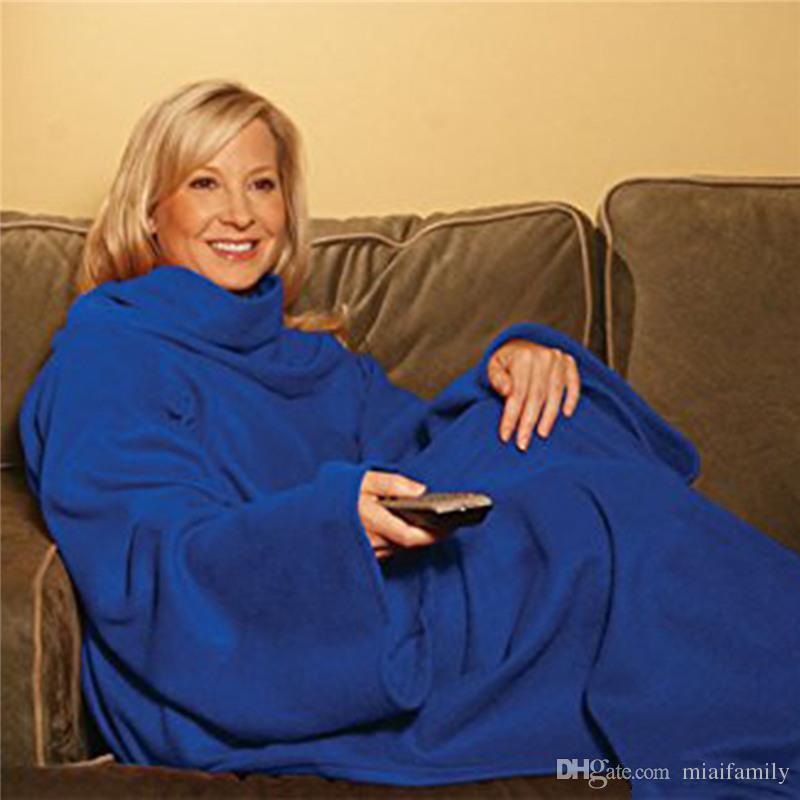 Мягкий теплый флис Snuggie одеяло халат плащ с уютными рукавами носимых рукав одеяло носимых одеяло 3 цвета DHL бесплатно