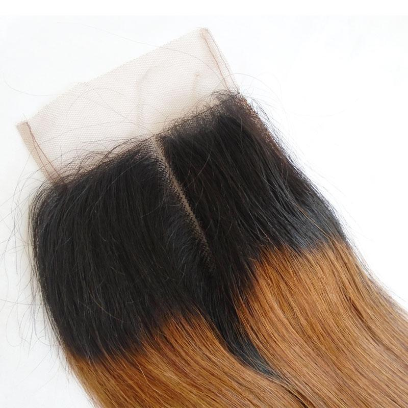 Ombre Brazilian Straight Lace Closure Middle Part Indian Peruvian Malaysian Virgin Human Hair Lace Front Closure With Baby Hair 8-20 inch
