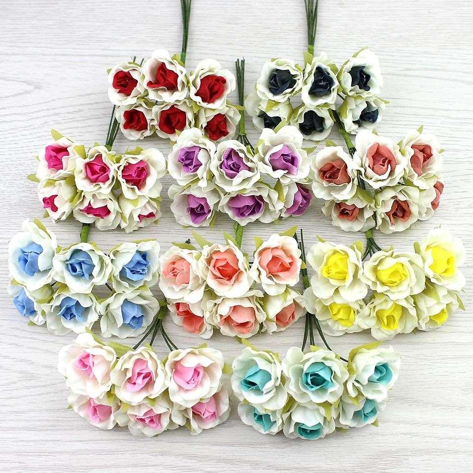 2018 2cm Mini Rose Artificial Flower Bouquet Silk Flowers For Diy