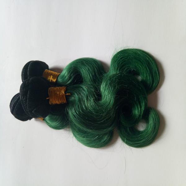 Onda Do Corpo brasileiro Virgem Cabelo Weave Bundles Peruano Malaio Indiano cambojano mongol cabelo 3 peças Two Tone 1B / verde Omber 8-28 polegada