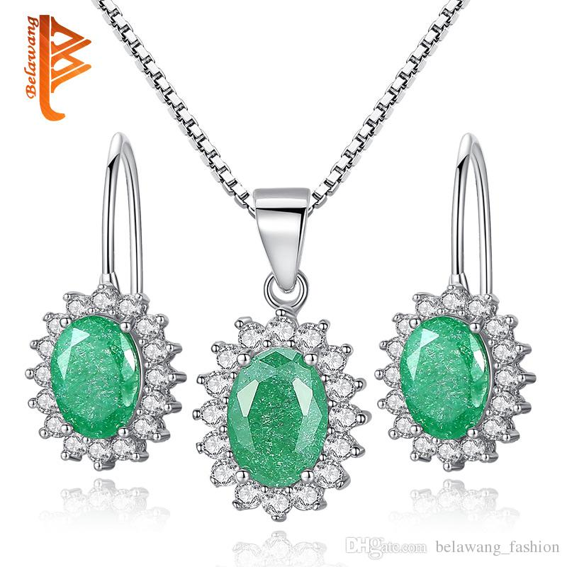 BELAWANG High Quality 925 Sterling Silver Wedding Jewelry Sets Oval Green Crystal For Women Pendant Necklace&Earrings Jewelry Free Shipping
